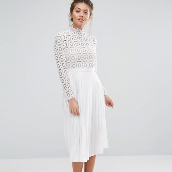 d377ff25e3 Little Mistress Dresses   Skirts - Little Mistress white lace pleated midi  dress